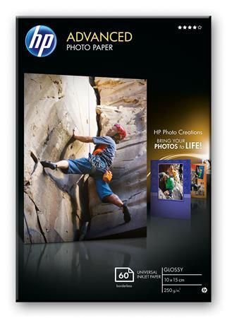 HP Q8008A Advanced Glossy Photo Paper-60 sht/10 x 15 cm borderless, 250 g/m2