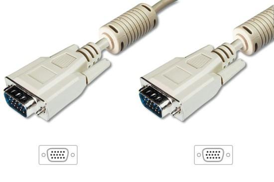 Digitus VGA kabel připojovací, 2x stíněný, 2x ferit, béžový, Měď, 15m