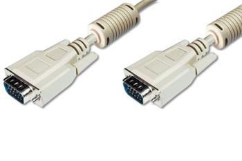 Digitus Premium připojovací VGA kabel, 3xstíněný, 2xferity, černá/šedá, AWG28, CU, šedý 5m
