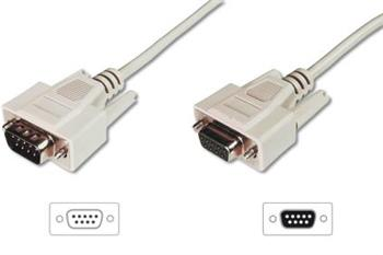 Digitus sériový kabel prodlužovací DB9 M/F 10m, šedý
