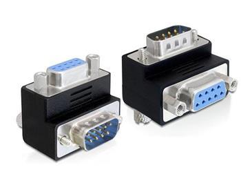 Delock adaptér Sub-D 9 pin samec > samice 90° pravoúhlý