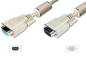 Digitus VGA monitor prodlužovací kabel, HD15, M / F, 15,0 m, 3Coax/7C, 2xFerrit, UL, se