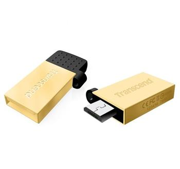 Transcend 16GB JetFlash 380G, USB 2.0/micro USB flash disk, OTG, malé rozměry, zlatě obarvený kov
