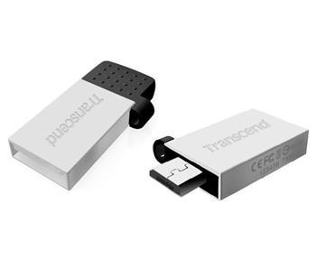 Transcend 32GB JetFlash 380S, USB 2.0/microUSB flash disk, OTG, malé rozměry, stříbrně obarvený kov