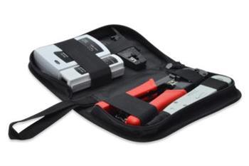 DIGITUS Síťová Sada nářadí, vč. LAN testeru, krimpovacího nástroje, střihacího a odizolovacího nástroje LSA, taška