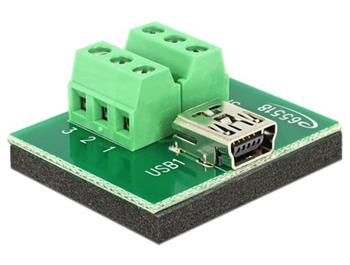 Delock Adaptér mini USB samice> Terminal Block 6 Pin
