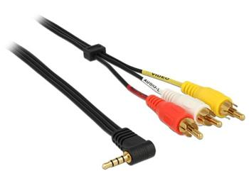 Delock Kabel Stereo jack 3.5 mm 4 pin samec pravoúhlý > 3 x RCA (cinch) samec 1.5 m