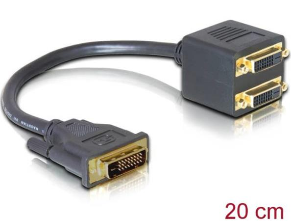 Delock adaptér DVI 25 samec > 2x DVI 25 samice