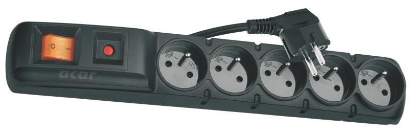 Emos přepěťová ochrana F5 - 5 zásuvek, 3m, černá