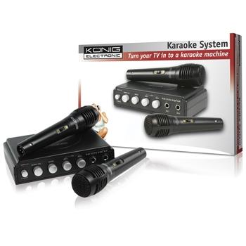 König HAV-KM11 - Karaoke mixer + 2 mikrofony, černý