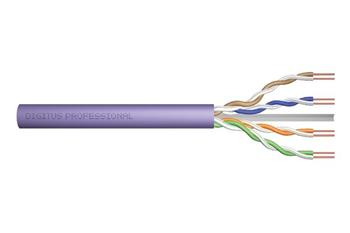 Digitus UTP kabel drát AWG23, měď, Cat.6, box 100m, LSOH, fialová
