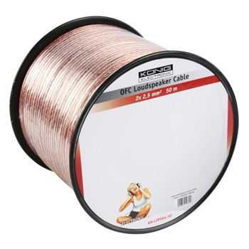 König KN-LSP04R-50 - OFC reproduktorový kabel 2x 2.5 mm, cívka 50m, transparentní