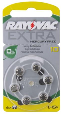Rayovac H10MF (10A, 5.8 x 3.6 mm) - 6 ks, blistr