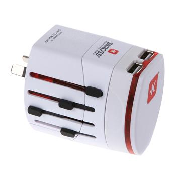 Skross SKR1302101 - Cestovní adaptér, 2-pólový, 2x USB nabíječka, bílý