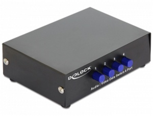 Delock Audio / Video (cinch) Switch 4-portový, manuální, obousměrný