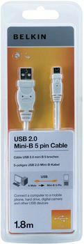 Belkin kabel USB 2.0 A/mini B 5-pin řada standard, 1,8m - bílý