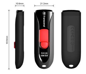 Transcend 64GB JetFlash 590, USB 2.0 flash disk, černo/červený