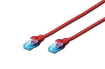 Digitus Ecoline Patch Cable, UTP, CAT 5e, AWG 26/7, červený 1m, 1ks
