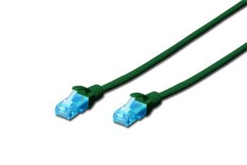 Digitus Ecoline Patch Cable, UTP, CAT 5e, AWG 26/7, zelený 1m, 1ks