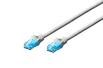 Digitus Ecoline Patch kabel, UTP, CAT 5e, AWG 26/7, šedý 0,25m, 1ks