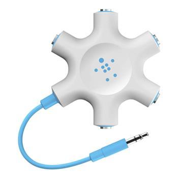 Belkin RockStar rozbočovací adaptér 5 portů 3.5 jack pro připojení sluchátek - modrý