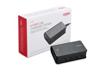 Ednet USB nabíjecí stanice pro telefony a tablety, 4-Porty, výstup 2x 1A, 2x 2.1A, černá