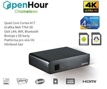 OpenHour Chameleon 4K TV Box, A4.4/Lubuntu/QC 1,8GHz/2GB/2xWLAN/GL/BT/USB/HDMI/DO