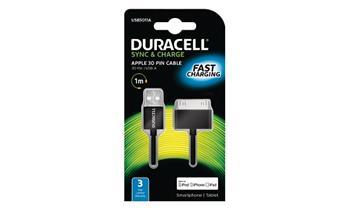 DURACELL - USB5011A - napájecí a synchronizační kabel pro Apple IPhone/iPod - 30pin černý 1m