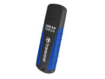 Transcend 128GB JetFlash 810 USB 3.0 flash disk, černo/modrý, odolá nárazu, tlaku, prachu i vodě