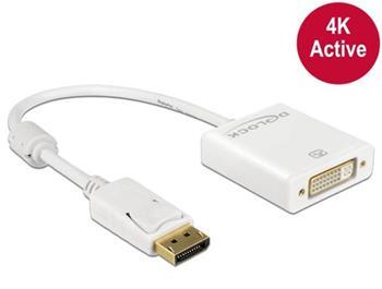 Delock adaptér Displayport 1.2 samec > DVI samice 4K aktivní bílý