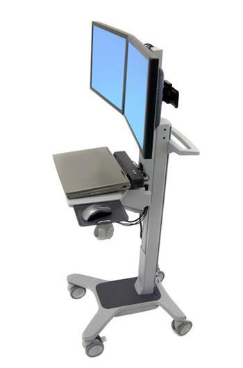 ERGOTRON Neo-Flex® Dual WideView WorkSpace, pojízdný multifunkční vozík, uchycení pro dva monitory
