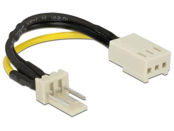 Delock Power Cable 3 pin male > 3 pin female (fan) 8 cm – Reduction of rotation speed