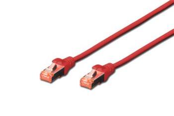 DigituCAT 6 S-FTP patch kabel, LSOH, Cu, AWG 27/7, délka 0,25 m, barva červená