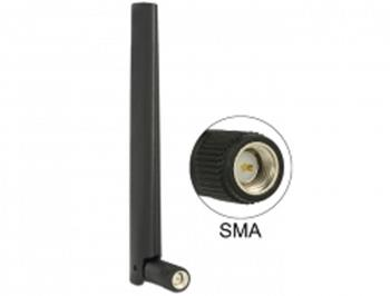 Delock anténa ZigBee Multi Bluetooth, GSM, LTE, UMTS, WLAN IEEE 802.11 b/g/n SMA 1 ~ 4.3 dBi všesměrová s kloubem, čern