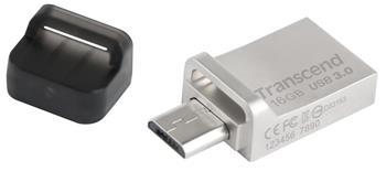 Transcend 16GB JetFlash 880, USB 3.0, microUSB, stříbrný kov, OTG