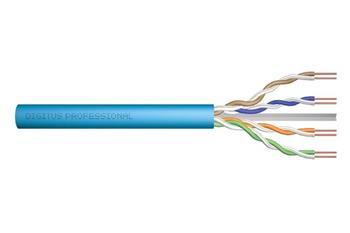 DIGITUS CAT 6A U-UTP installation cable, raw, Length 305 m, Paper Box, LSOH, AWG 23, Simplex Color light blue RAL 5012