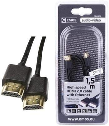 Emos HDMI A - A male, Ethernet, v2.0, 1.5m
