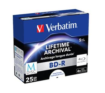 VERBATIM M-DISC BD-R SL 25GB, 4x, printable, jewel case 5 ks