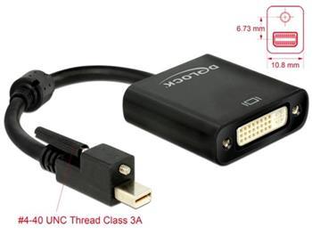 Delock Adaptér mini Displayport 1.2 samec se šroubky > DVI samice 4K aktivní černý