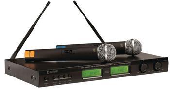 König KN-MICW621 - bezdrátový mikrofonní systém, 16 kanálů UHF, 2 mikrofony