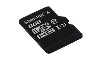 KINGSTON 8GB microSDHC Memory Card 45MB/10MBs- UHS-I class 10 Gen 2 - bez adaptéru