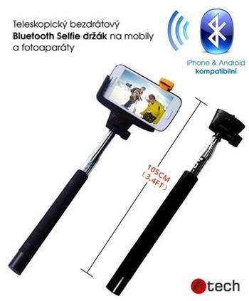 C-TECH teleskopický selfie držák MP107B pro mobil, monopod, Bluetooth dálková spoušť, černý