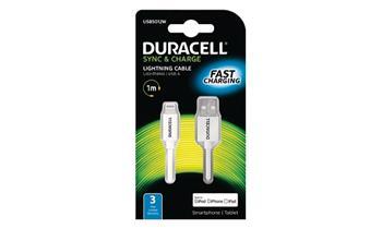 DURACELL - USB5012A - napájecí a synchronizační kabel pro Apple Lightning zařízení bílý 1m