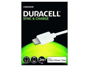 DURACELL - USB5012A - napájecí a synchronizační kabel pro Apple Lightning zařízení bílý 2m