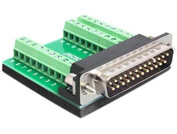 Delock Adaptér D-Sub 25 pinů samec > svorkovnice 27 pinů