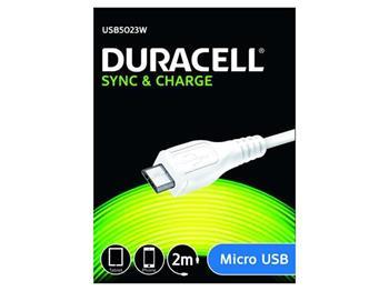 Duracell - napájecí a synchronizační kabel pro Micro USB zařízení bílý 2m