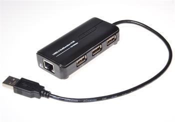 MicroConnect USB2.0 HUB 3-portový + Ethernet 10/100Mbps, bez ext. napájení, černý