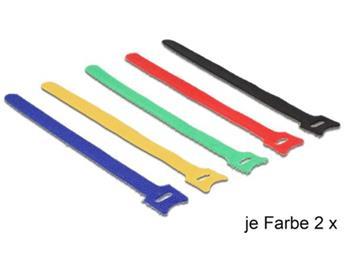 Delock deset kusů barevných vázacích pásky na suchý zip L 200 x W 12 mm
