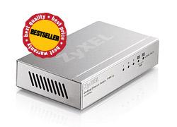 ZyXEL ES-105A, 5-port 10/100Mbps Ethernet switch, 2x QoS (!), desktop