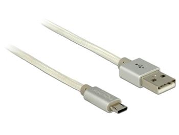 Delock datový a napajecí kabel USB 2.0 Type-A samec > USB 2.0 Micro-B samec s bílým textilním obalem 15 cm